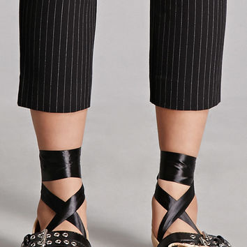 Faux Leather Strappy Flats