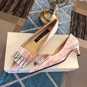 sergio rossi 18 autumn and winter new rhinestone single shoes series with height 4.5cm pink