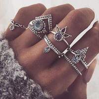Boho Moon Ring Set