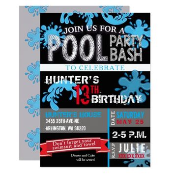 Childs Pool Party Bash Birthday Invitation