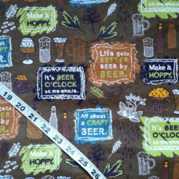 Flannel fabric with beer mug glass craft artisan cotton print quilt quilting sewing material by the yard crafting project