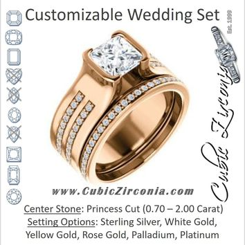CZ Wedding Set, featuring The Jennifer engagement ring (Bezel-set Princess Cut with Thick Band featuring Double-Row Pavé Accents)