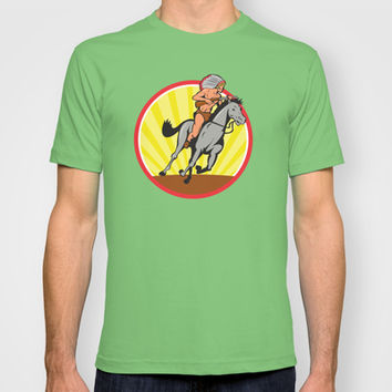 Native American Indian Chief Riding Horse T-shirt by patrimonio