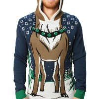 Ugly Christmas Sweater Men's Hooded Reindeer Sweater