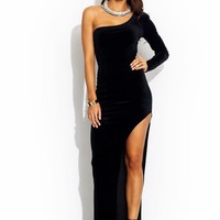 Take-Sides-Velvet-Maxi-Dress BLACK RED - GoJane.com