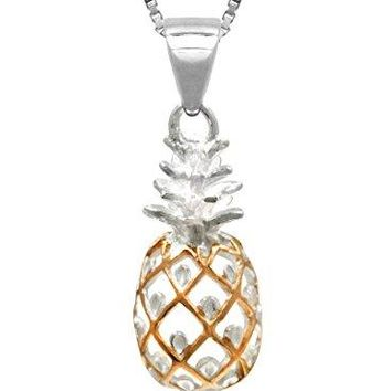 Sterling Silver 14K Rose Gold Pineapple Necklace