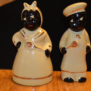 1950's Vintage Mammie and Tom Salt and Pepper Shakers