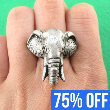 3D Adjustable Elephant Animal Realistic Ring For Men and Women in Silver