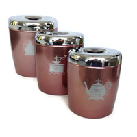 Vintage Kitchen Canisters, Aluminum, Copper Color with Silver Chrome Lids, Set of 3 Nesting, West Bend, Retro Kitchen Decor, Mid Century
