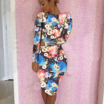 Blue Floral Print Boat Neck Long Sleeve Bodycon Midi Dress