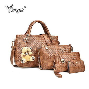 YBYT brand 2017 PU leather luxury satchel women composite bag ladies purse retro knitting handbag female shoulder crossbody bags
