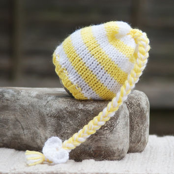 Newborn Baby Pixie Knit Beanie Hat Photo Prop Hat Yellow White Stripey Hat
