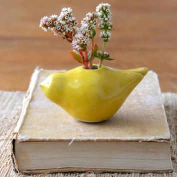Little Yellow Bird Vase - Home Decor - OOAK Handmade Sculptures - Ready to Ship