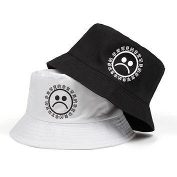 2018 new women men fisherman sad boy bucket hat hip hop navy white black red sadboy summer sun panama cry face bonnie cap