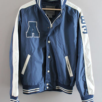 Vintage Varsity  Jacket Blue Waterproof Letter A 83 Button Up Hipster 90s Unisex Size L
