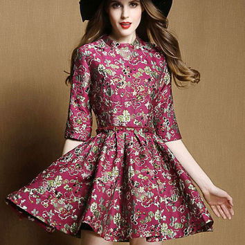 Burgundy Floral Print Pleated Skater Dress