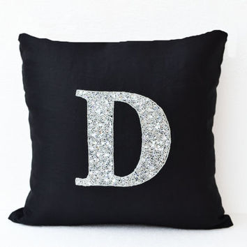 Customized Silver Sequin Monogram decorative pillow- Sequin Throw pillows - Linen pillow cover - Black Pillow - Sofa pillow - Couch - 18X18