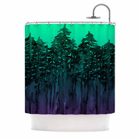 "Ebi Emporium ""Forest Through The Trees 9"" Purple Black Shower Curtain"