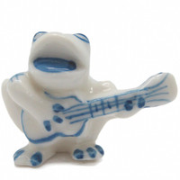 Porcelain Miniatures Animal Delft Frog Guitar