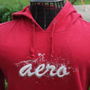 Aeropostale Red Pull Over Comfy Hoodie Women's Size X Small Vintage