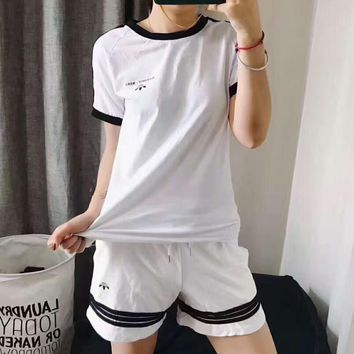 ADIDAS print O-neck white black short sleeve shorts women two-piece sportswear set H-A