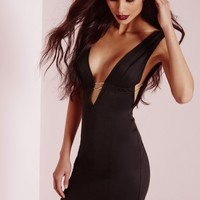 Missguided - Sleeveless Open Side Gold Fastening Bodycon Dress Black