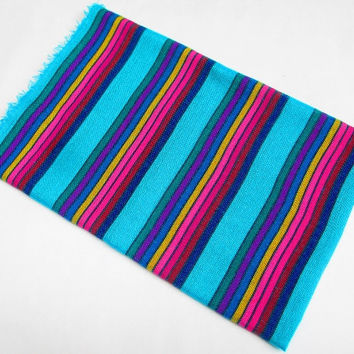 WHOLE SALE-Mexican Fabric, aztec fabric, tribal fabric by the yard,colorful tribal fabric by the yard, aqua blue with colorful stripes