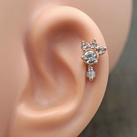 Paw Print Rose Gold Cartilage Earring Tragus Helix Piercing
