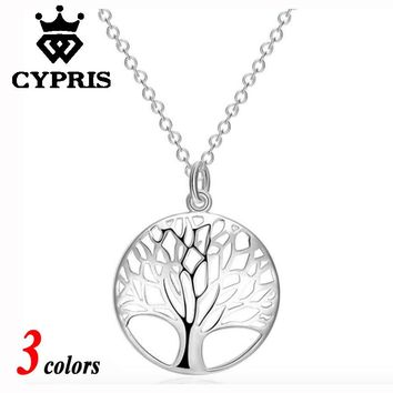 4 hours LEFT 11.11 Hot 3 colors choice Rose gold yellow gold  Silver Tree Of Life 20inch Pendant Necklace totem gift girl women