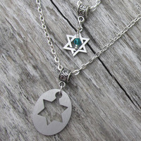 2 Hexagram Necklaces, Couple Stainless Steel Star Of David Necklace, Choose Necklace Style, Birthstone, Anniversary, Satin-Shiny, Laser Cut