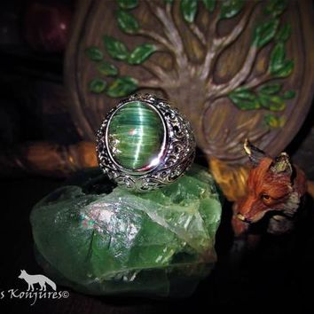 f50efcda70a3 Antique AAA+++ Cats Eye Emerald Green Tourmaline Ring with ornat