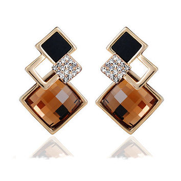 18K Gold Plated Geometric Square Long Stud Earrings