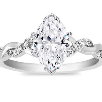 Engagement Ring - Marquise Diamond Petite twisted pave band Engagement Ring in 14K White Gold - ES873MQWG