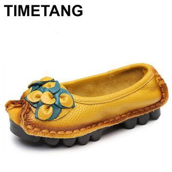 TIMETANG Hot Sell Designer Handmade Women Genuine Leather Shoes Women Flats Shoes 5 Colors Vintage Ballet Flats Shoes Woman C327