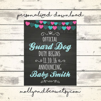 Cute Dog Pregnancy Announcement Official Guard Dog Duty Begins, Dog Helps to Announce Pregnancy with Sign, Chalkboard Baby Sign, Pitbull