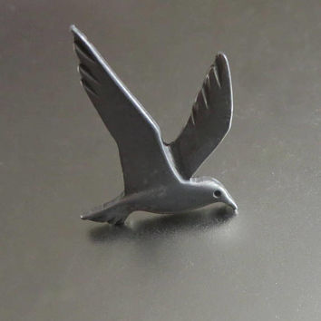 Seagull Tie Tack, Vintage Silver Tone Metal, Father's Day, Handsome Accessory!
