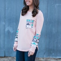 Aztec Shine Top, Peach