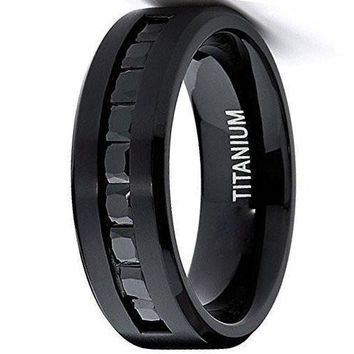 8mm Black Titanium Ring Wedding  Band With 9 Large Princess Cut Channel Set Black CZ