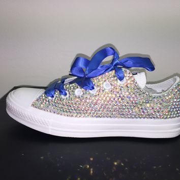 All Star Mono White Converse Bedazzled In AB Crystals Sapphire Blue Laces