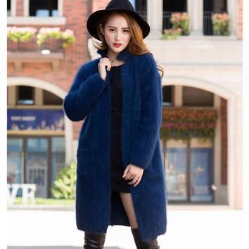 2018 Autumn And Winter New Boutique Mink Coat Mink Cashmere Cardigan Sweater Female Long Coat Thickened mandarin collar