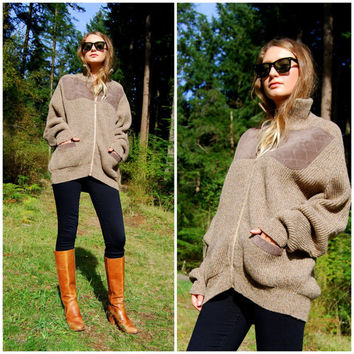 70's Brenire Shetland Wool Sweater, Scotland Scottish Sweater, Full Zip Cardigan Sweater, Hunting Shooting, Suede Elbow Patch Sweater, XL