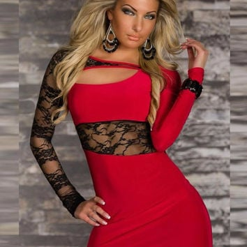 Women Casual Lace Long Sleeve Short Mini Dress Vestidos Black Red Womens Cut Out Neck Dresses Sprinkg Summer Dressee W373038