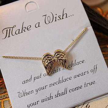 Gold Wings Wish Necklaces Charm Pendant Quote Gifts