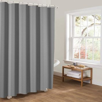 Htovila 72 * 72'' Polyester Waterproof Mildewproof Shower Curtain Decorative Privacy Protection Bathroom Curtain with 12pcs Hooks--Grey Dot