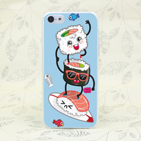 Surf's Up Sushi Hard Transparent Case Cover for iPhone 4 4s 5 5s 5c SE 6 6s Plus