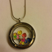 Autism awareness living locket necklace, support, hope, cause