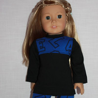 black and blue long sleeve shirt, blue print leggings,18 inch doll clothes, American Girl,  Maplelea