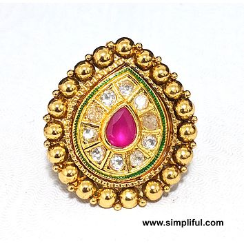 Tear drop kundan like stone adjustable Finger ring