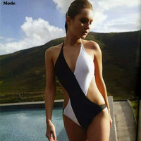 Black and White Women One Piece Summer Swimsuit Bathing Suit Bandage Bikini Set _ 227