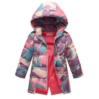 Girls Winter Coats New Design 2017 Fashion Camouflage Long Jackets Cotton Thicken Kids Clothes